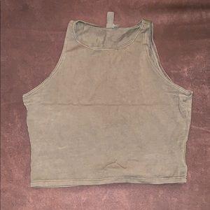 Olive Sleeveless Cropped Tank